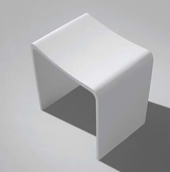 Design Badhocker aus Mineralguss , Oberfläche:Glänzend