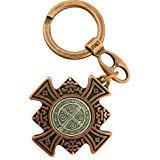 Bronze und Silber Ton St. Benedikt Malteser Kreuz Anhänger Schlüsselanhänger, 13/10,2cm