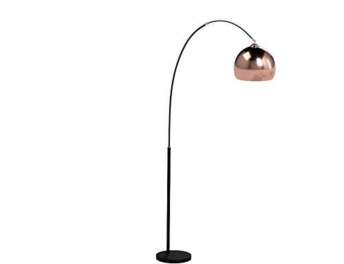 Moderne Kupfer Bogenstehleuchte, Bogenlampe im Retro Lounge Design, H 200 cm, 1x E27 max. 60W, Metall, kupfer/schwarz