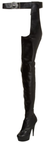 Pleaser DELIGHT-5000 Blk STR Faux Leather/Blk Matte UK 6 (EU 39)