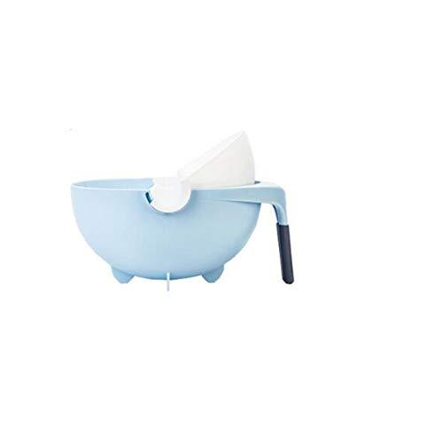 KEHUITONG Cesta grande azul de drenaje giratorio, doble lavabo, cocina, artefacto, cesta...