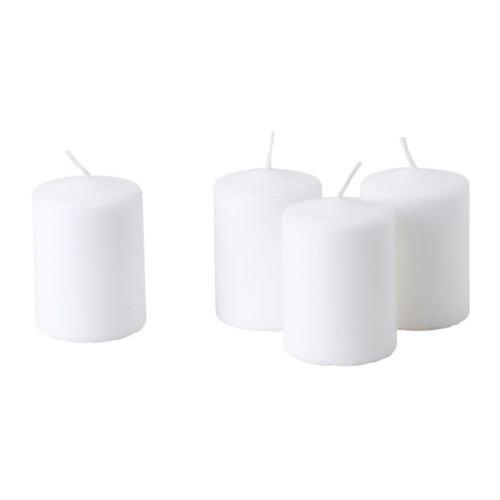 Ikea HEMSJO-Vela sin Aroma, Blanco/4Pack-8cm