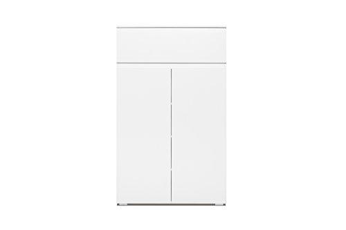 Kommode - Schuhschrank (B/H/T: 80 x 131 x 40 cm) griffloses Design, weiß matt