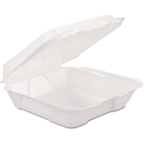GENHINGEDL1 - GEN-PAK CORP. Foam Hinged Carryout Container, 1-compartment, White, 9-1/4 X 9-1/4 X 3 by GEN-PAK CORP.