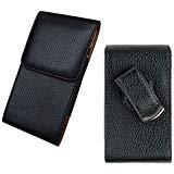 Für Samsung Galaxy S6Edge + Plus/Note 5/Note 4Vertikal Weiches Leder Tasche Pouch schwarz mit Built in Swivel Gürtel Clip & Metall Halterung (passt + Schutzhülle/Silikon Haut Fall) + aiscell Handy-Display LCD-Reinigungstuch (von allen _ erhältlich)