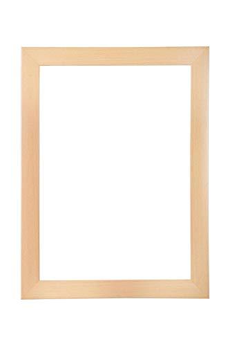 EUROLine35 mm Bilderrahmen für 59 x 72 cm Bilder, Farbe: Buche, inkl. entspiegeltem Acrylglas und MDF Rückwand, Rahmen Breite: 35 mm, Außenmaß: 64,8 x 77,8 cm
