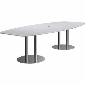 Konferenztisch mit Säulenfüßen 280x130/78cm weiß