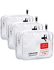 Cableinthebay TSA Klar Travel Kulturbeutel (Reflex)  Quart Größe Zipper Airport Airline konform Bag Carry-on Gepäck Travel Rucksack Flüssigkeiten/Bottles Men/Damen 3-1Kit + Ebook