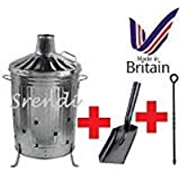 Small Medium Large 15L 60L 90L Litre Metal Galvanised Garden Incinerator Fire Bin Burning Leaves Paper Wood Rubbish Dustbin Shovel and Poker Made In U. K. (90L INC with Shovel&Poker)