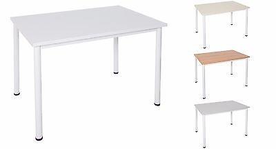 Borkenkäfer Schreibtisch Konferenztisch Tisch Bürotisch weißes Metallgestell Büromöbel Ahorn 140x80 cm
