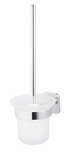 Bisk Forte Gamme Easy Fit Vis ou Colle Brosse WC à Fixation Murale en Aluminium, Zinc et Acier Inoxydable, Chrome, 11.5 x 13.6 x 34.5 cm