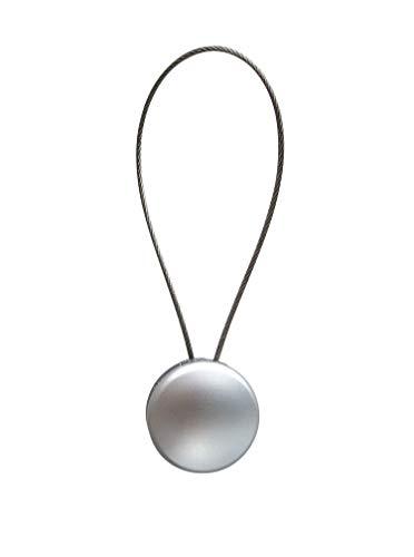 Magnet Clip - Dekomagnet - Ø 28 mm mit Drahtschlaufe - z.B. zum Raffen von Gardinen, Chrom matt