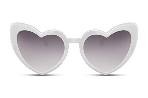Cheapass Sonnenbrille Herz-Förmig Weiß UV-400 Groß X-XL Plastik Damen Frauen