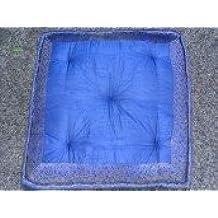 int. d'ailleurs - Cojín de suelo con bordes de brocado de color Azul - GAL036