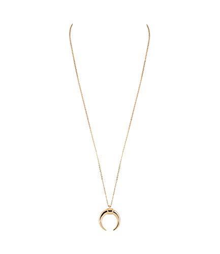 SIX Damen Halskette, Halsschmuck, Gliederkette, lang, Anhänger, Halbmond, goldfarben (779-620)