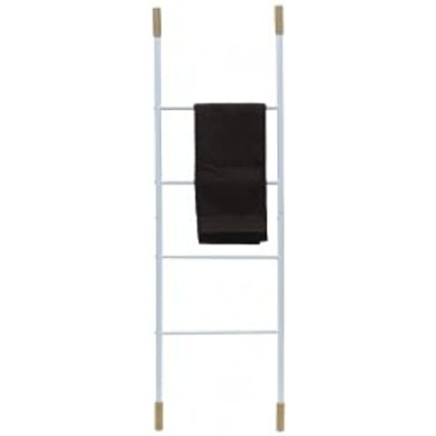 Toallero Escalera bambú y metal Blanco