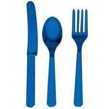 En plastique jetables pour pique-Cutlery Couteau-fourchette-cuillère - 24 pièces-(Lot de 8)-Bleu Royal