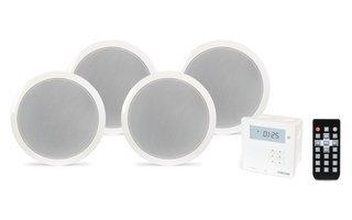 Kit Amplificador DE Pared USB Bluetooth con 4 Altavoces DE Techo 5.25'
