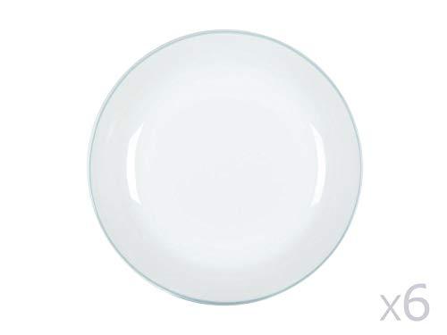 Delamaison Assiette Creuse en Porcelaine Bleu (Lot de 6) Nordic