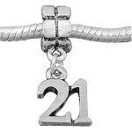 Antique Silver Design Happy 21st Birthday Dangle Charm Bead Fits Pandora Style Bracelets
