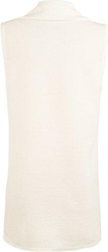 WearAll - Femmes Sans manches en crêpe Ouvrir gilet long Pocket Top Jacket - Jackets - Femmes - Taille 36-42 Crème
