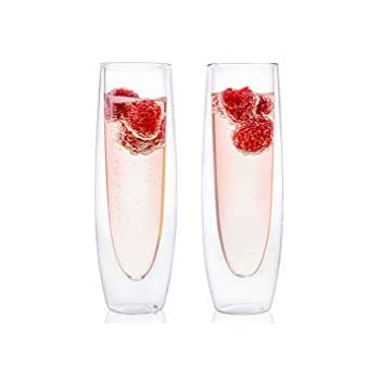 ecfcc1254bd Eparé Champagne Flutes, Insulated Stemless Glass Set (5 oz, 150 ml) – Flute  Glass for Brunch Wine & Wedding Cocktails – Reusable Party Cups - 2 ...