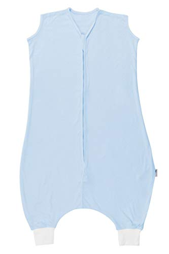 Schlummersack Schlafsack mit Füssen aus Bambus-Baumwolle ungefüttert für den Sommer in 0.5 Tog - Blau - 24-36 Monate/100 cm