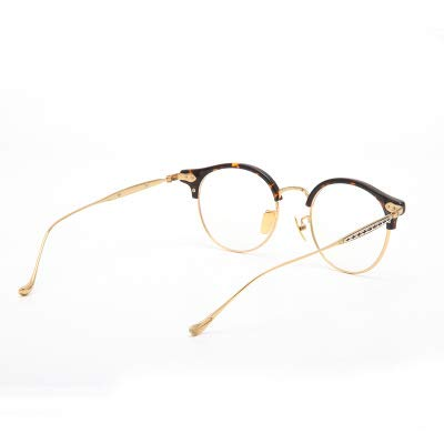 Linshenyoulu Koreanische Version des Fine-Rimmed Glasses Frame Flachspiegel Runde Wildbrillen, Anti-Blue Glasses Support Custom Glasses