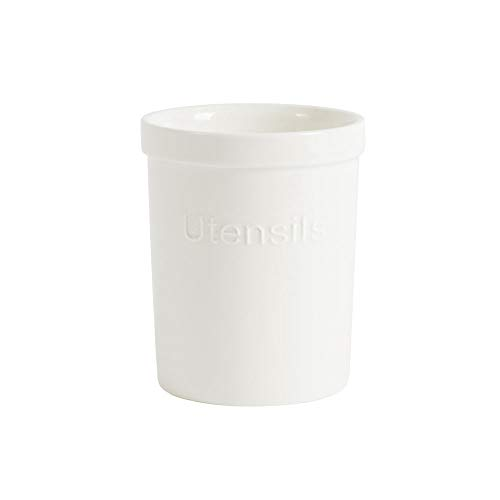 ProCook - Petit Porte-Ustensiles - Pot Organisateur Support à Ustensiles de Cuisine - en Porcelaine - 12 cm x 15 cm - Blanc