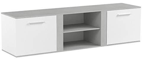 Vicco TV Lowboard NOVELLI Sideboard Weiß Beton Fernsehschrank Fernsehtisch