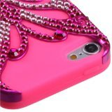 Asmyna Metallic Hot Pink/Electric Pink Butterfly Kiss Hybrid Protector Cover with Diamonds for iPod Touch 5