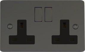 XFi5DB Schwarz Varilight besonders flach Iridium 2 fach 13 A Schraubenlose Doppelsteckdose schwarzen Einsätzen