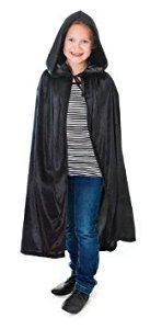 Childs Black Velvet Hooded Cloak : One Size 88cm