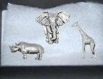 Gift Boxed Set of 3 Pewter Pin Badges-Giraffe, Elephant, Rhino.