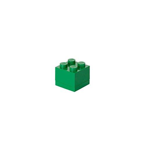 Mini Contenitore Lego a 4 Bottoncini, Inserto Portavivande, Scatola Snack, Verde