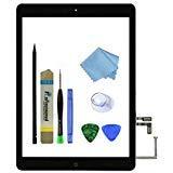 zentop Schwarz iPad Air 1. Generation Ersatz Touchscreen Digitizer Glas Modell A1474FRF A1475A1476mit Home Button, Kamera Halter, vorinstallierte Selbstklebend, Tool Kit. Button-kamera-kit