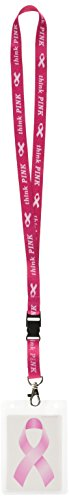 Beistle 54579 Pink Ribbon Lanyard, - Krebs-hand-bands