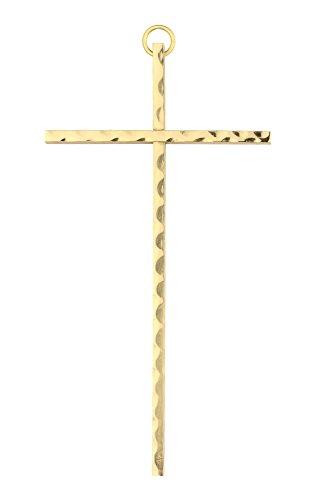 Motivationsgeschenke Wandkreuz Messing, gehämmert Kreuz 35 x 16 cm Handarbeit Metall Kruzifix