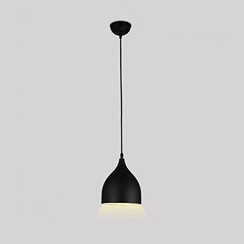 LED Aluminium kleiner Leuchter, Nordic Single Head/Triple Head Bügeleisen Deckenleuchte post-modernen Wohnzimmer Cafe Speisesaal Hängeleuchte, Schwarz, Rot, Weiß (Farbe: Schwarz-1-Chef-17 CM) - Post-chef