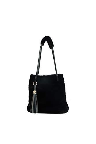 Howoo donne inverno pelliccia ecologica borsa a tracolla felpa borsetta soffice borsa della benna nappa borsa a tracolla nero