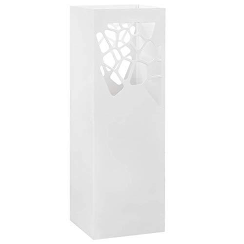 Festnight Regenschirmständer Steinen-Design | Metall Schirmständer | mit Wasserauffangschale | Weiß Pulverbeschichtetem Stahl | 15,5x15,5x48,5 cm
