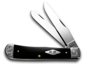 CaseXX XX Black Delrin 1/200 Scrolled Bolsters SFO Trapper Pocket Knife Knives
