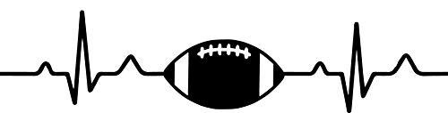 SUPERSTICKI Herzschlag Heartbeat American Football Typ2 25cm Aufkleber,Autoaufkleber,Sticker,Decal,Wandtattoo, aus Hochleistungsfolie,UV&waschanlagenfest,