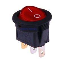 10x rund Wippschalter rot beleuchtet On/Off-Schalter 3-polig mit Licht 220V (Pole-licht-schalter)