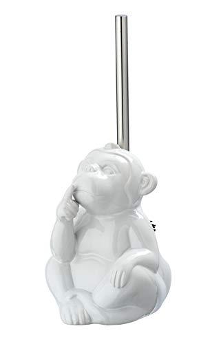 Wenko WC-Garnitur Monkey Quiet Toilettenbürstenhalter, Keramik, Weiß, 15 x 69 x 20 cm