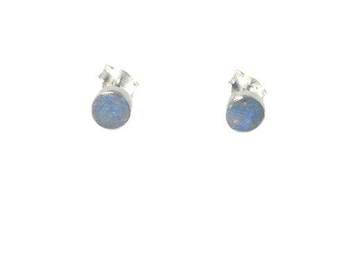 Australian Opal Sterling Silber 925Edelstein Ohrringe/Ohrstecker–6mm (opst0610175)