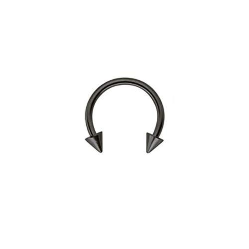 Beydodo 1 Pcs Nasenpiercing Nasenring Schwarz U Form mit Kegel 12 MM Damen Körperschmuck Piercing Ring Nase Nickelfrei