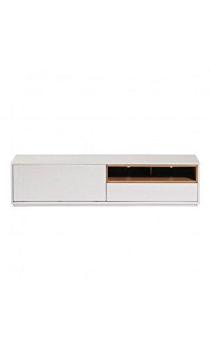 CAMINO A CASA - Meuble TV design 2 tiroirs laqué blanc et bois White