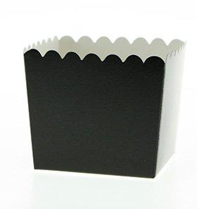 Sambellina 6 Schicke Einfarbig Schwarze Snackboxen mit Wellenrand