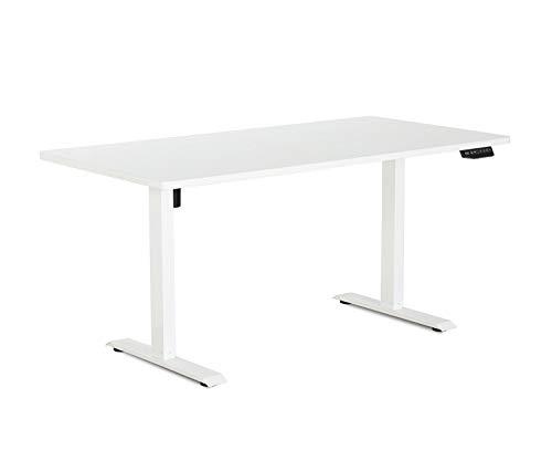 eSmart Germany elektrisch höhenverstellbarer Schreibtisch | Mit weißer Holz-Tischplatte und...